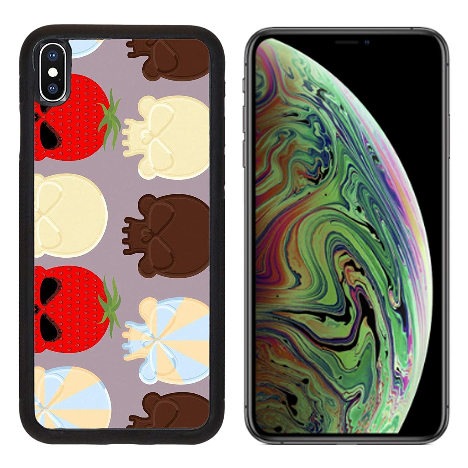 Luxlady Apple iPhone Xs MAX Case Aluminum Backplate Bumper Snap Cases ID: 43128818 Sweet Candy Skulls Seamless Pattern Head Skeleton Made of Chocolate and strawb