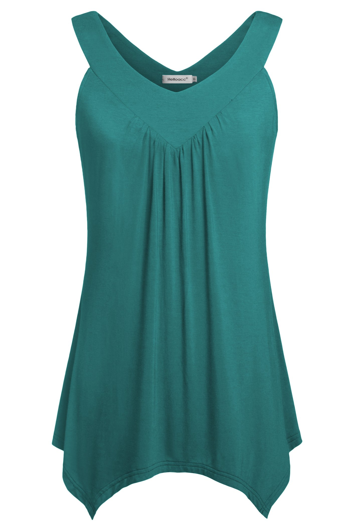 Helloacc Tanks & Tops,Women V Neck Comfy Sleeveless Summer Blouses for Vacation Aqua Large by Helloacc