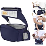 Viedouce Hip Seat Front Baby Carrier with Safety Belt Lightweight Ergonomic Waist Stool, Navy