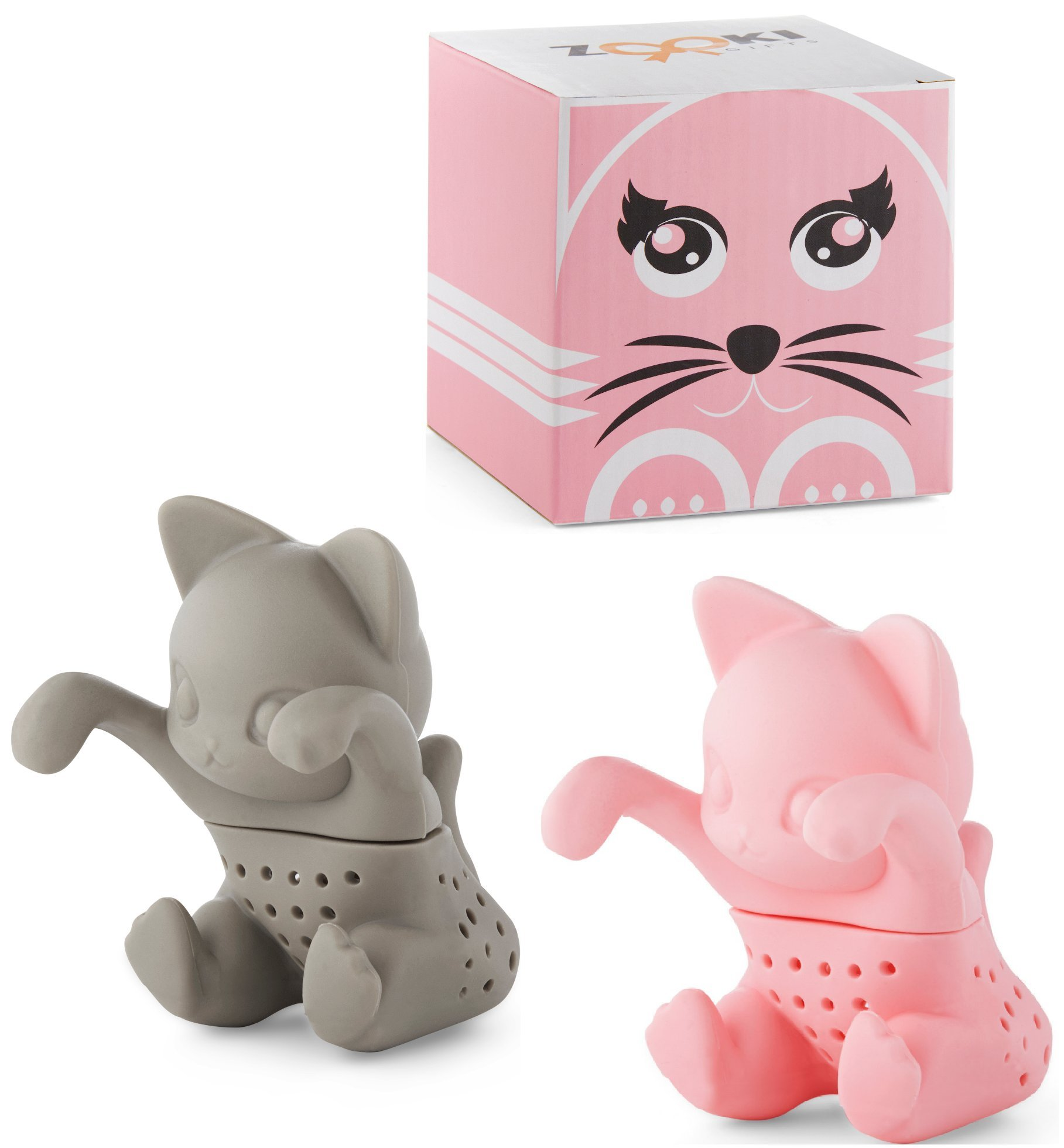 2x cat shaped tea infuser / steeper / strainer for loose tea leaves. INCLUDES SUPER-CUTE GIFT BOX & FREE EBOOK!