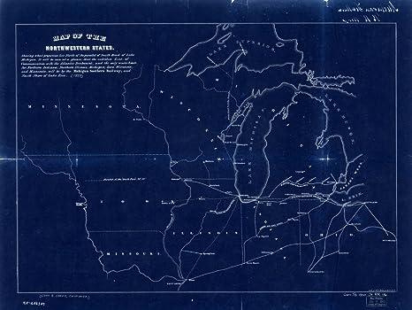 Peachy Amazon Com Vintography 18 X 24 Blueprint Style Reprint 1850 Map Schematic Wiring Diagrams Phreekkolirunnerswayorg