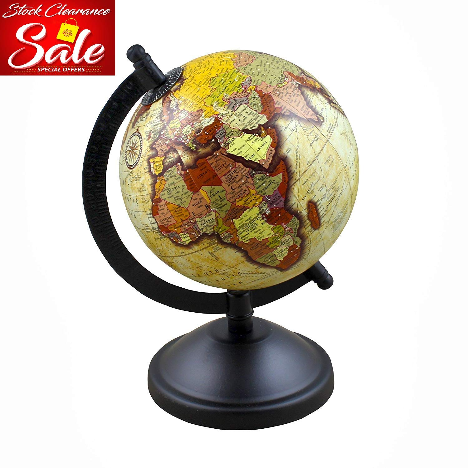 Decorative Desktop World Globe Earth Geography Map with Stand, 8 Inches for Office, Classroom, Kids Room & Home Décor - Stock Clearance Sale!!