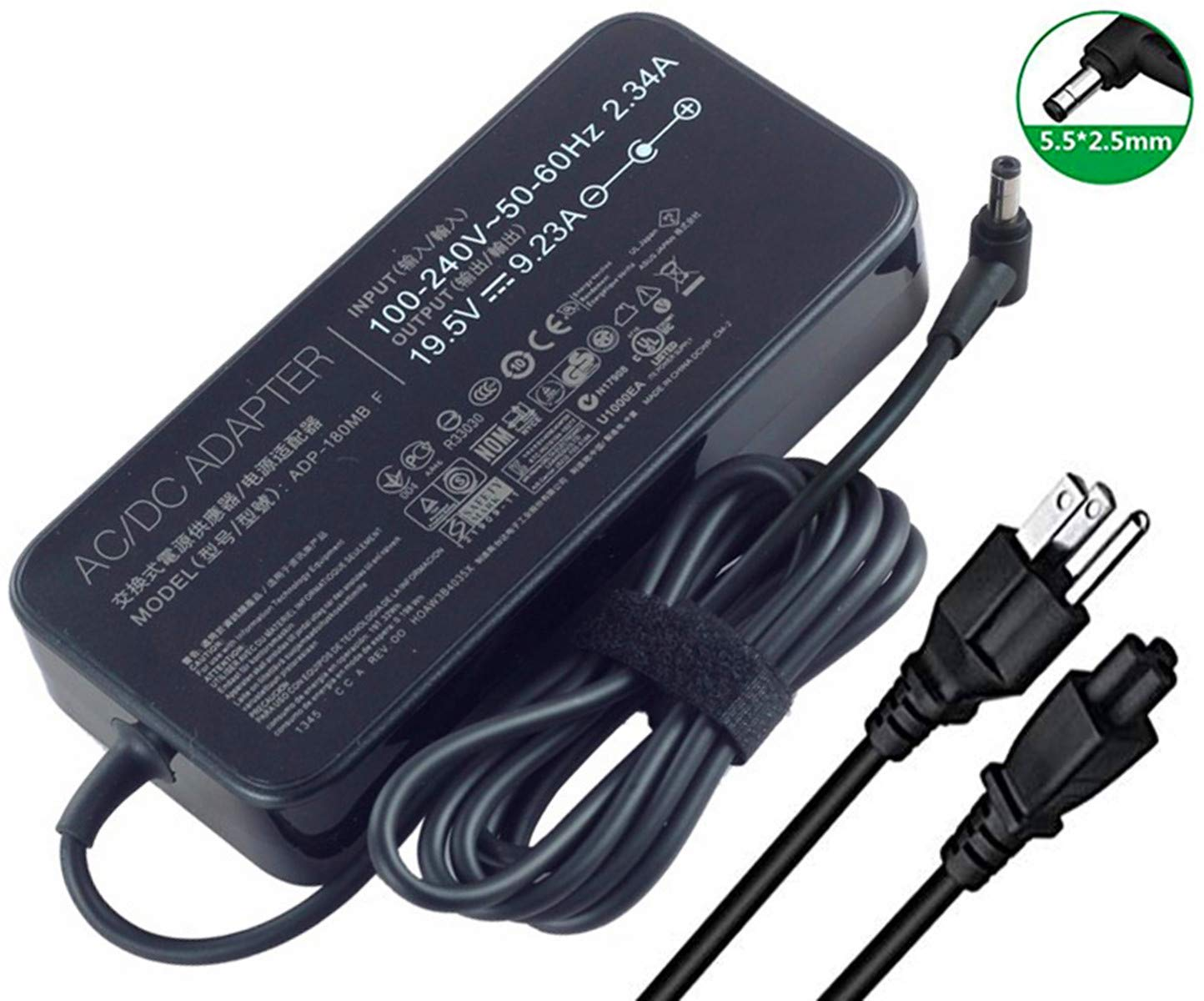 New 19.5V 9.23A 180W Laptop Charger ADP-180MB F FA180PM111 AC Power Adapter for Asus ROG G75 G75VW G75VX GL502VT G750JW G750JM G750JX G751JL G751JM G752VL G-Series Gaming Laptops