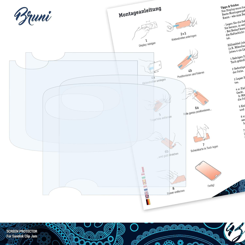Set de 2 Bruni Protecteur d/écran pour Sandisk Clip Jam Film Protecteur Cristal Clair /Écran Protecteur