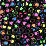 BEADTIN Black Opaque w/Colored Hearts 7mm Cube Pony Beads (100pc)