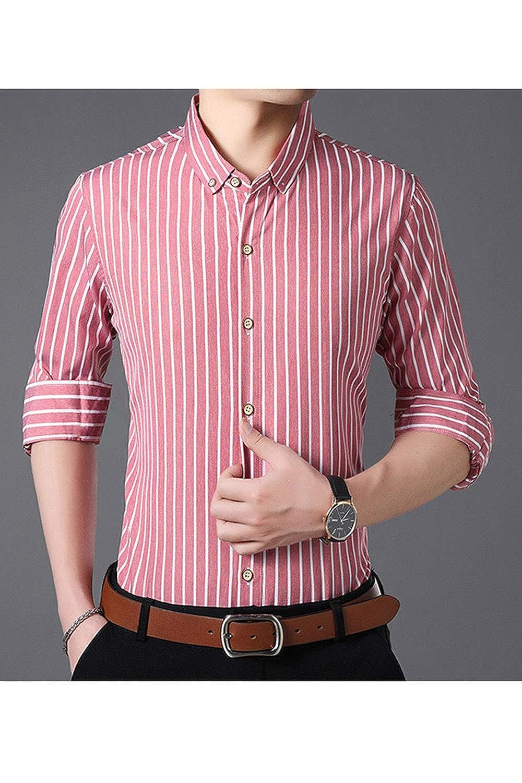 Vepodrau Men Casual Shirts Long Sleeve Slim Button Down Striped Shirt