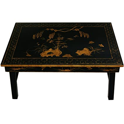 Oriental Furniture Tea Table With Foldable Legs