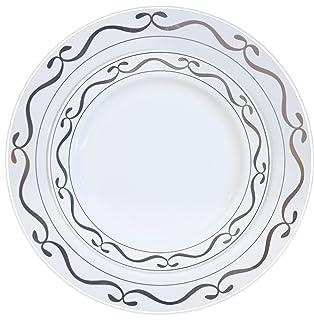 good living china like dinnerware 20pc premium heavyweight plastic plates white with silver script