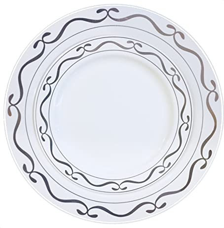 Good living China Like dinnerware 20pc Premium Heavyweight Plastic Plates. White with Silver Script  sc 1 st  Amazon.com & Amazon.com: Good living China Like dinnerware 20pc Premium ...