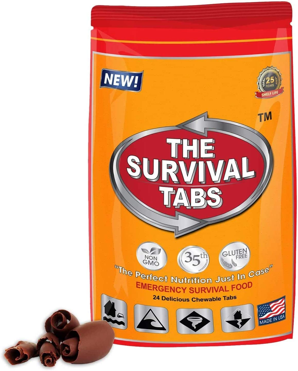Survival Food for Auto Racing Survival Tabs 2-Day Food Supply 24 Tabs Emergency Food Ration Survival Gluten Free and Non-GMO 25 Years Shelf Life Long Term Food Storage - Chocolate Flavor