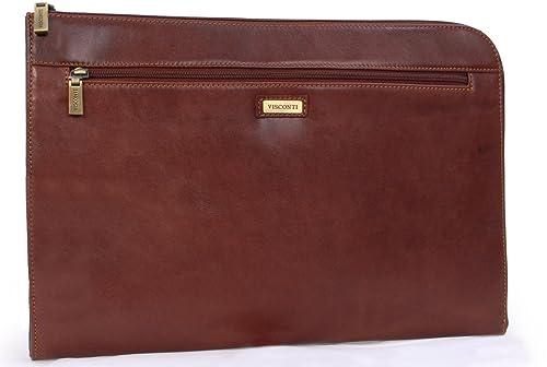 VISCONTI - 18238 - Carpeta portadocumentos A4, cierre con cremallera - Cuero (Tostado)