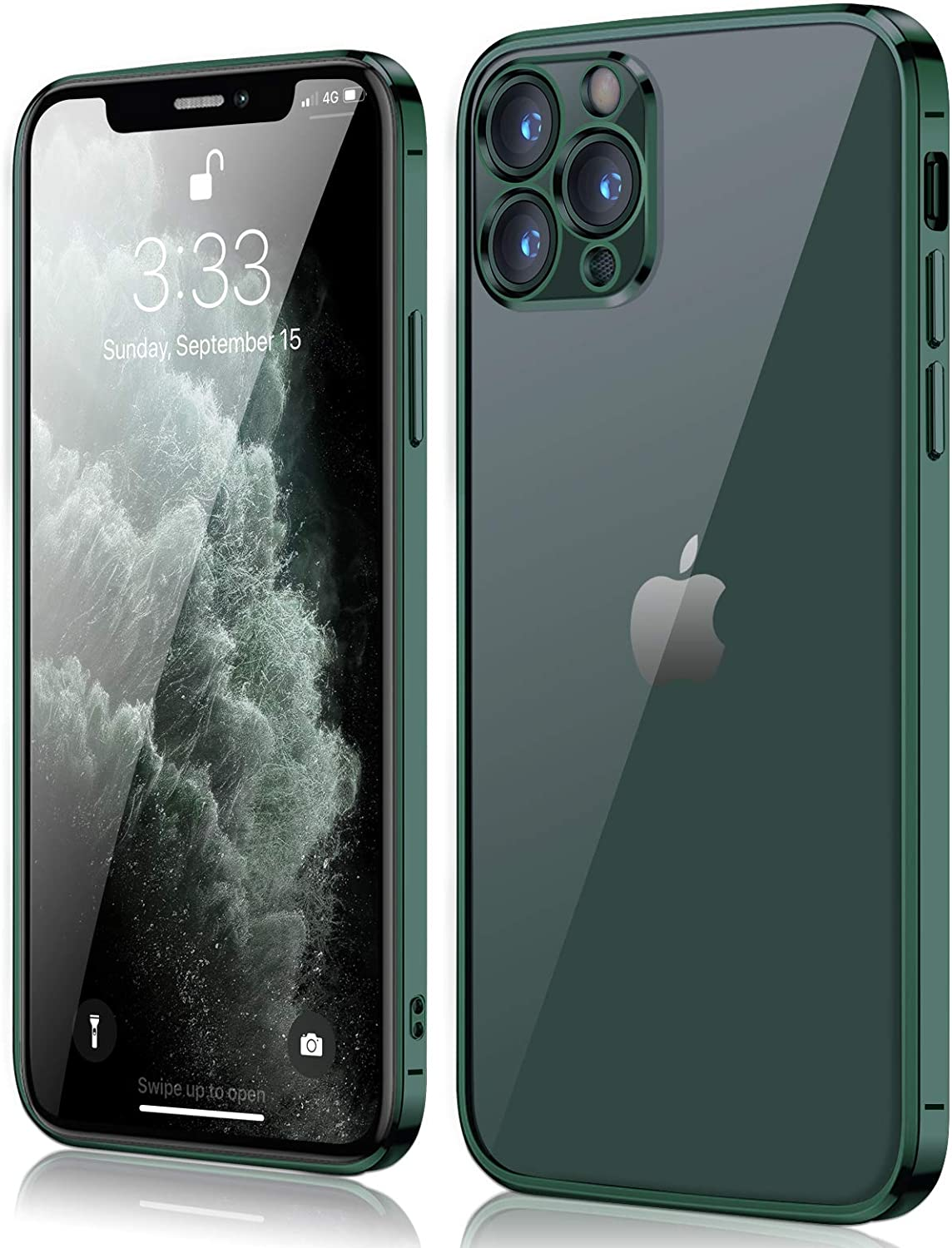 Compatible with iPhone 11 Pro Max Case, peafowl Clear Slim Soft Full Coverage Protective TPU Silicone Cell Phone Case Deep Green for iPhone 11 Pro Max (6.5 inch)