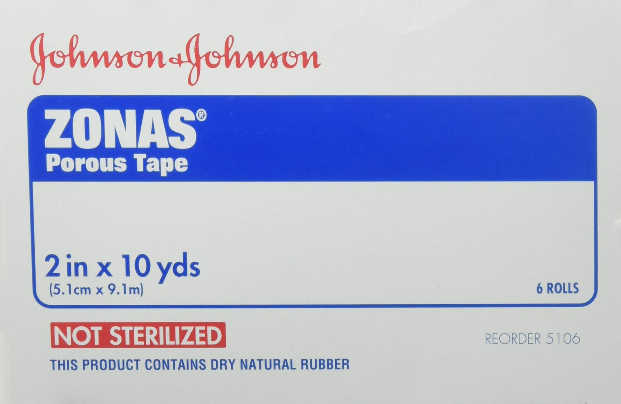 Johnson & Johnson First-Aid Zonas Tape, Porous, 2'' x 10 Yards, 6 Rolls by Johnson & Johnson Consumer Products