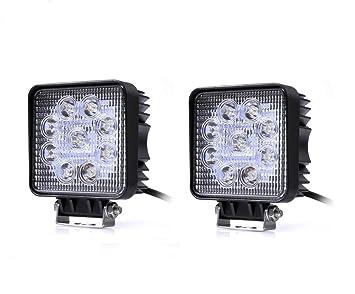 OUMIZHI 2 x Proyector LED 27W 9-30V Trabajo 2500Lumen y ...