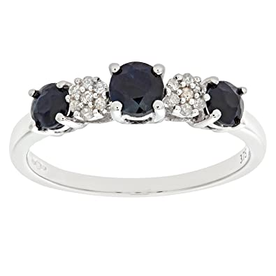 Naava Women s 9 ct White Gold Claw Set Diamond and Sapphire
