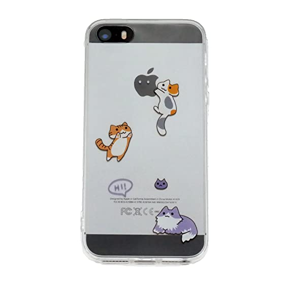 new concept 5dbb4 b99aa iPhone SE Clear Case, TNCY Cute Cat Design Clear TPU Soft Case Rubber  Silicone Skin Cover for iPhone se 5 5S