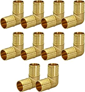 SUPPLY GIANT QYMO0012-10 X PEX 90 Degree Elbow Barb Pipe Fitting, 1/2 Inch, Brass (pack of 10)