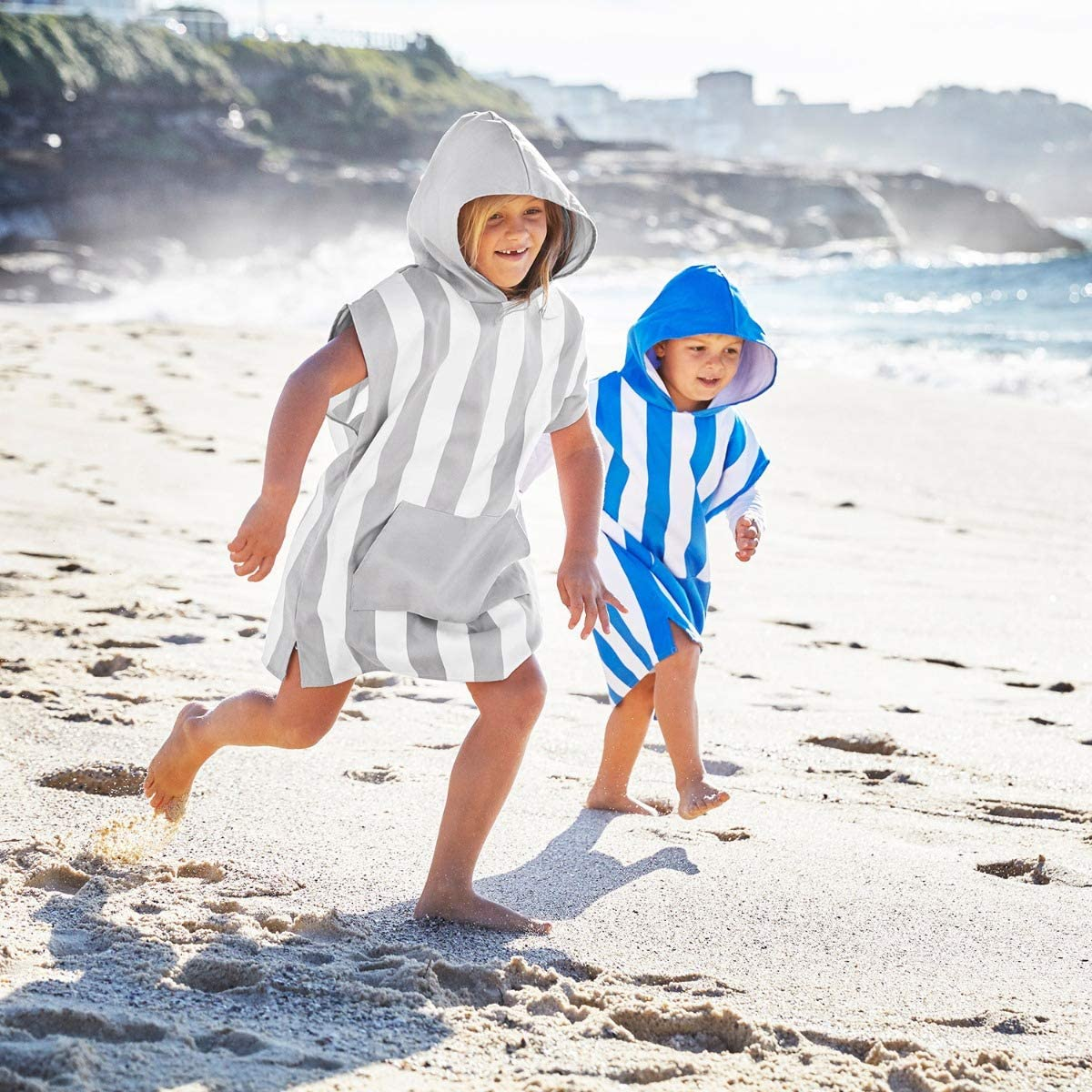 Beach /& Pool Quick Dry Hooded Towels for Swim packs into its own drawstring beach bag Suits ages 3-7 Microfibre Kids Poncho with hood Compact /& Lightweight 28 long - Mini collection