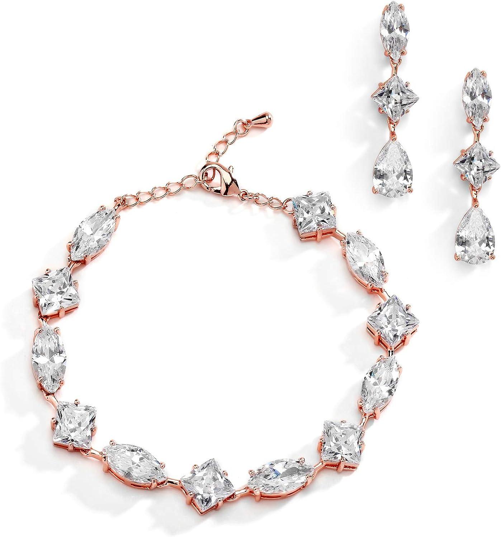 Women Bridal Wedding Party Cubic Zirconia Gold Stud Earrings Choker Bracelet Set