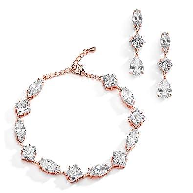 f3acbb0e13211 Amazon.com: Mariell Rose Gold Zirconia Crystal Wedding Bracelet ...