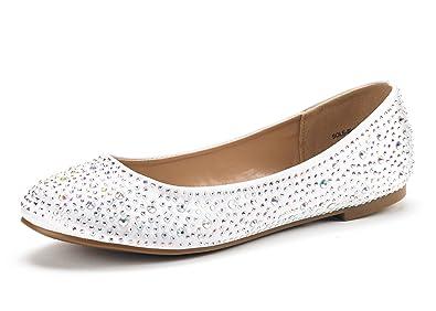 a11ea9c5757 DREAM PAIRS Women s Sole-Shine White Rhinestone Ballet Flats Shoes - 5.5 ...