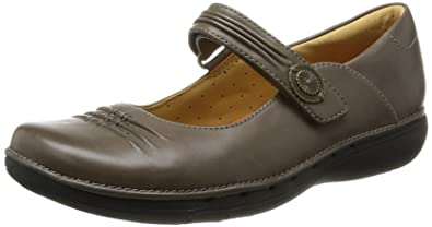 e3cfe204b30497 Ladies Unstructured By Clarks Casual Velcro Strap Flats Un Linda - Grey  Leather - UK Size