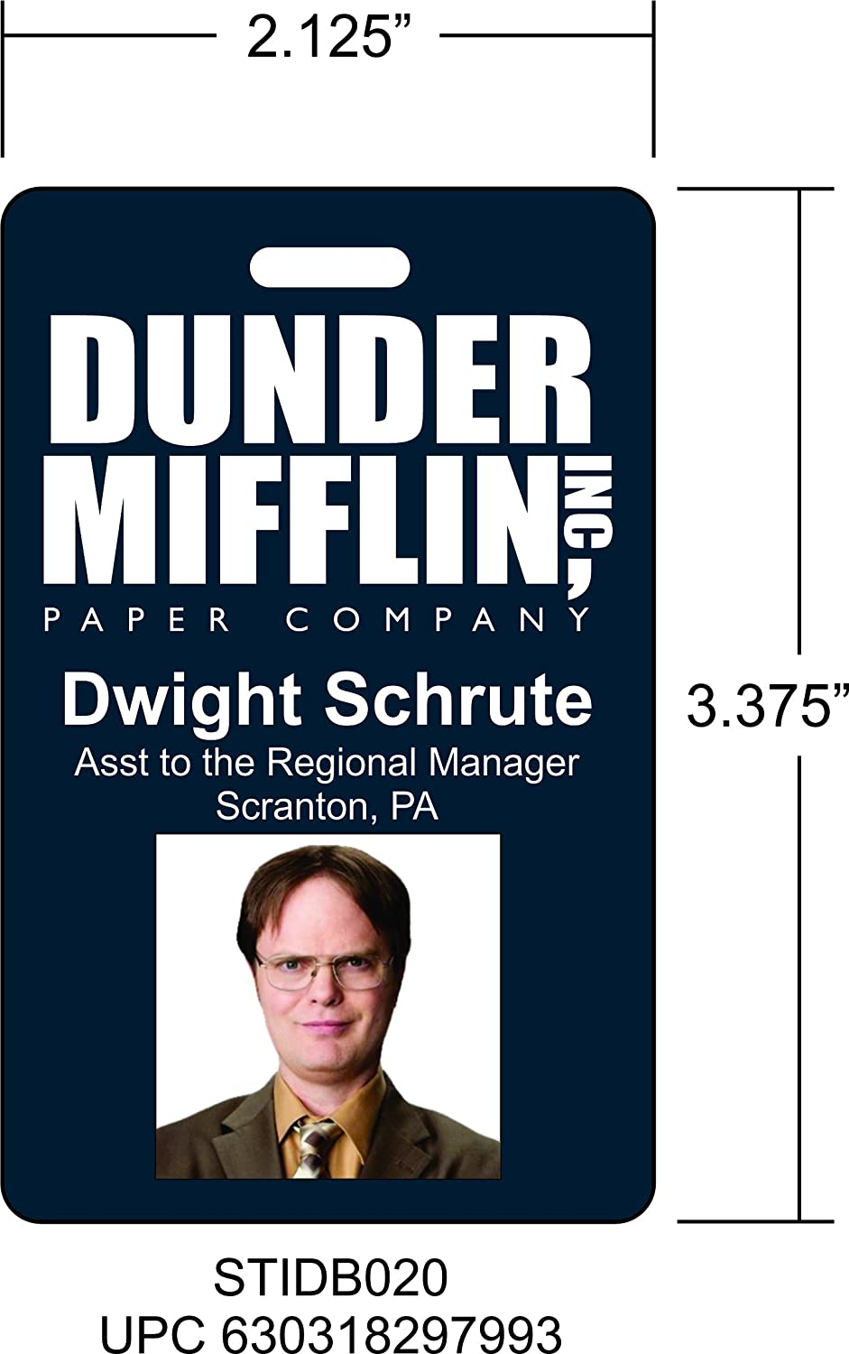 graphic about Dunder Mifflin Name Tag Printable named Dwight Schrute The Place of work Novelty Identity Badge Motion picture Prop for