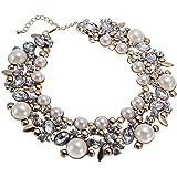 Jerollin mujer Fashion Necklets cristal clúster declaración cadena babero collar gargantilla declaración collares de cristal Bead