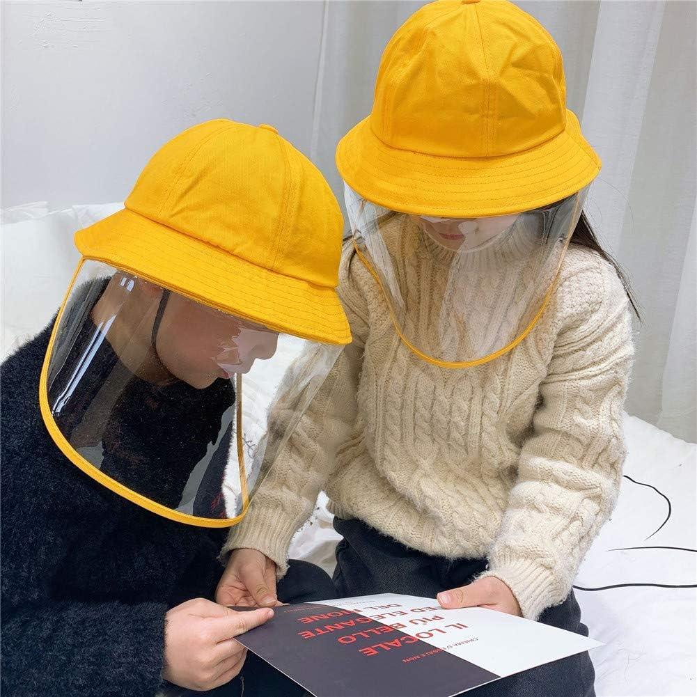 TOHHOT Mascaras Kids Anti Droplets Gorra Protectora Amarilla para niños con Protector Facial a Prueba de Polvo