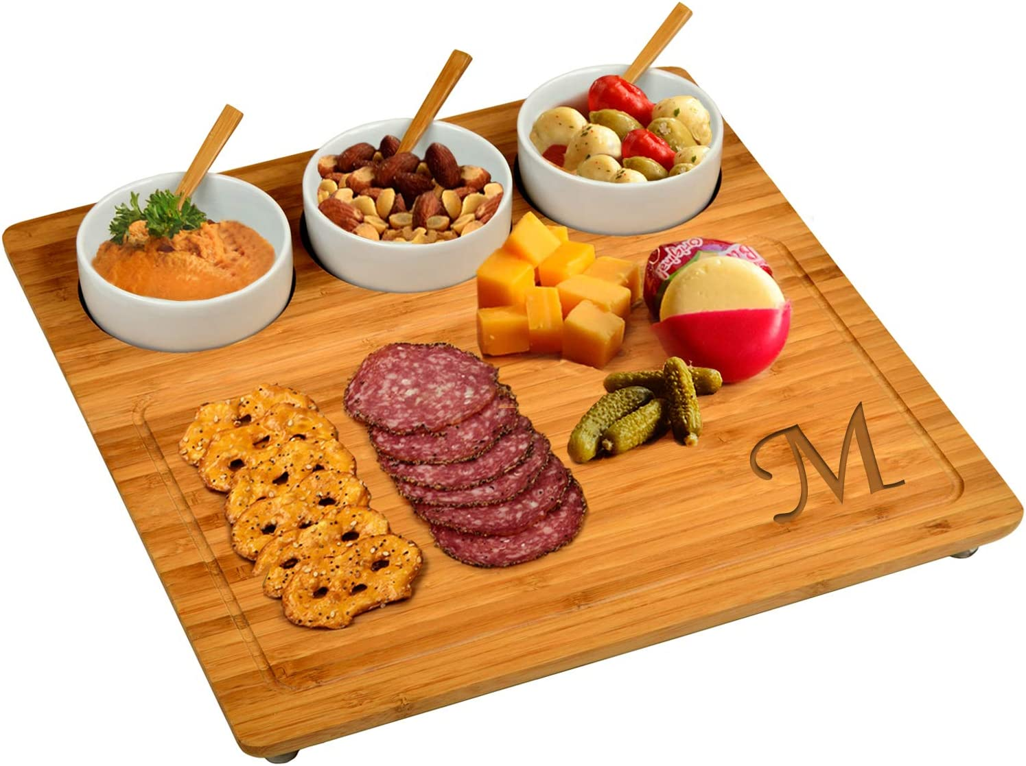 Picnic at Ascot Original Personalized Monogrammed Engraved Bamboo Cutting Board for Cheese & Charcuterie with 3 Ceramic Bowls & Bamboo Spoons- Designed & Quality Checked in the USA