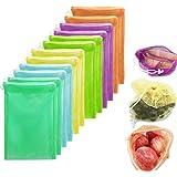 12 Bolsas Ecológicas -Limón para Frutas y Verduras, Juguetes, Semillas- Bolsas Reusables Premium. Contiene 10 Bolsas de Vario