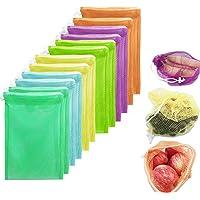 12 Bolsas Ecológicas -Limón para Frutas y Verduras, Juguetes, Semillas- Bolsas Reusables Premium. Contiene 10 Bolsas de…