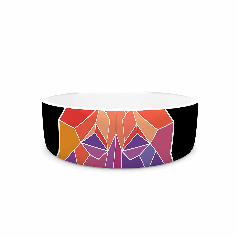 7\ KESS InHouse Draper Prism Wolf  orange Purple Pet Bowl, 7