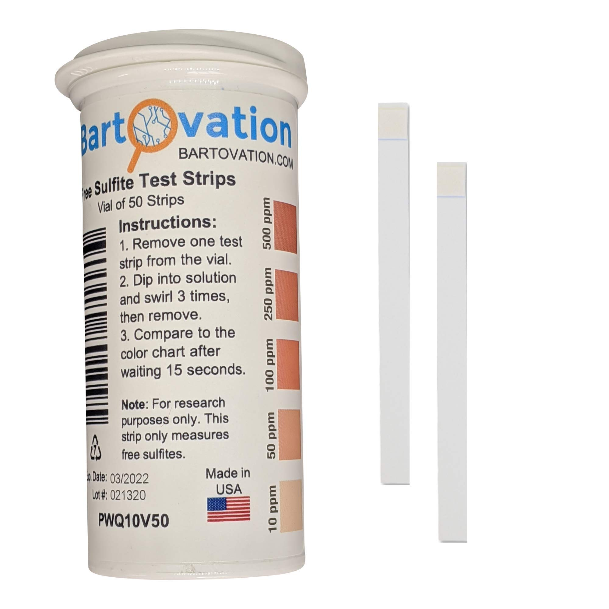 Free Sulfite Test Strips, 10-500 ppm [Vial of 50 Plastic Strips]