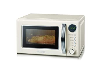 Klarstein Retro Mikrowelle 700 W Grill 1000W Microwave 20l Timer Edelstahl creme