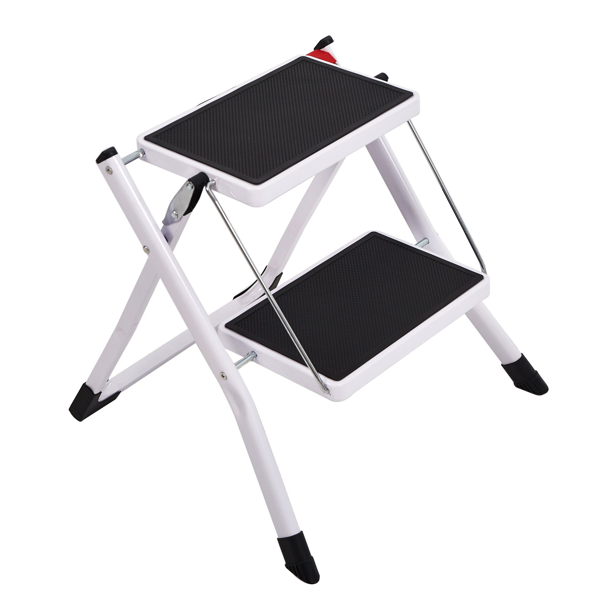 Lucky Tree Anti-Slip Folding Step Stools Wide Platform Step Ladder 2 Steps for Kitchen Home, 220lbs Capacity