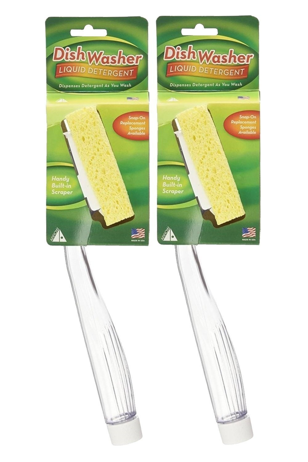 Arrow Plastic Dish Sponge with Handle, 2 Count