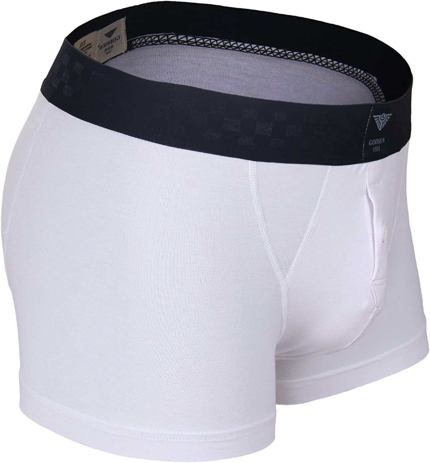 Godsen Mens 2 Pack Cotton Boxer Brief with Elastic Waistband