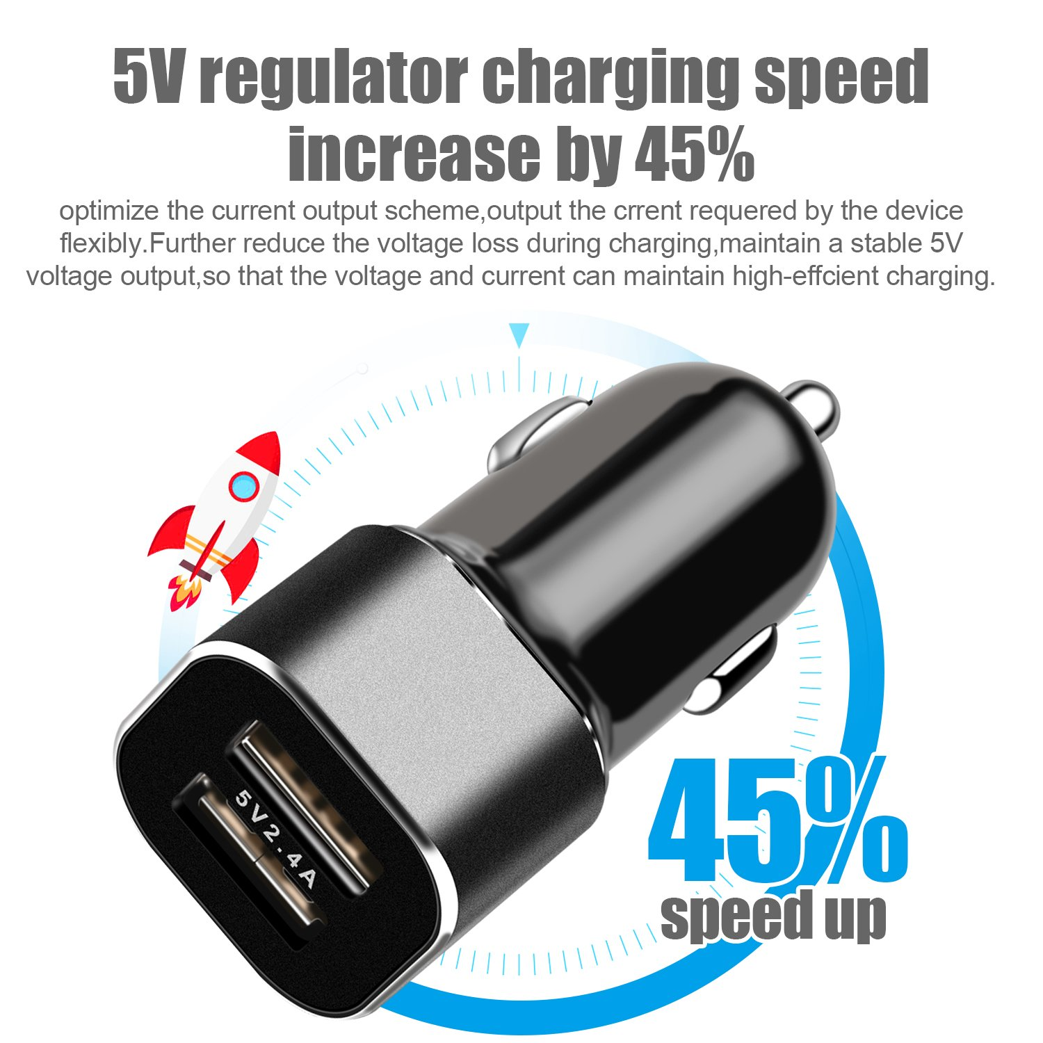 Black Red Ulimag Phone Car Charger 24W//4.8A Rapid Dual Port USB Car Charger Adapter with 3FT USB Cable Charging Cord for Phone X 8 7 Plus 6S 6 SE 5S 5
