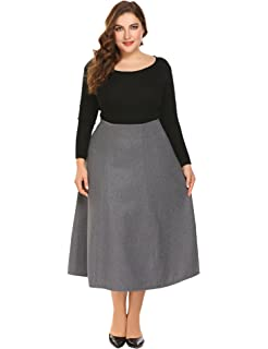c766da2fcba Zeagoo Womens Plus Size Warm High Waist Flared A Line Swing Maxi Wool Skirt  For Party