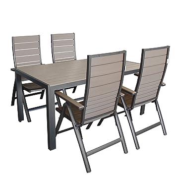 Amazon De 5tlg Aluminium Polywood Sitzgarnitur Balkonmobel Set