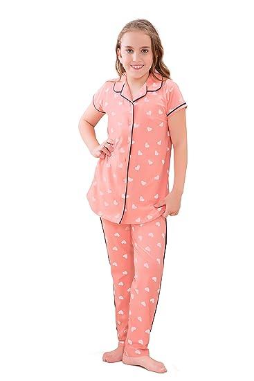 76162442150 ZEYO Girl s Cotton Navy Blue   Peach Night Suit   Night Shirt