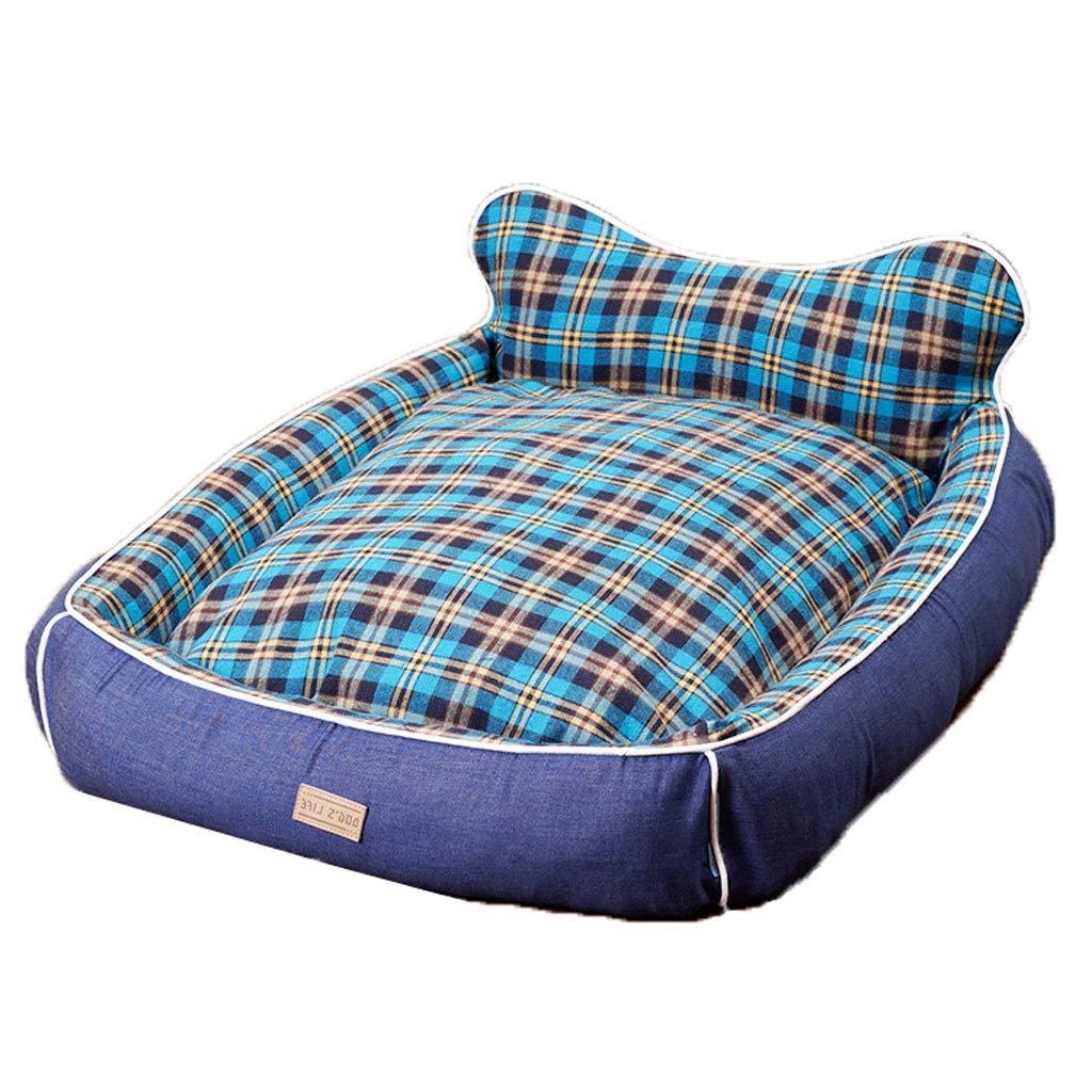 94×82×13cm Hidog A++ bluee Plaid Pet Nest, Home golden Retriever Medium Small Cat Dog Bed, Nonslip Square Linen Pet Mat (Size   94×82×13cm)