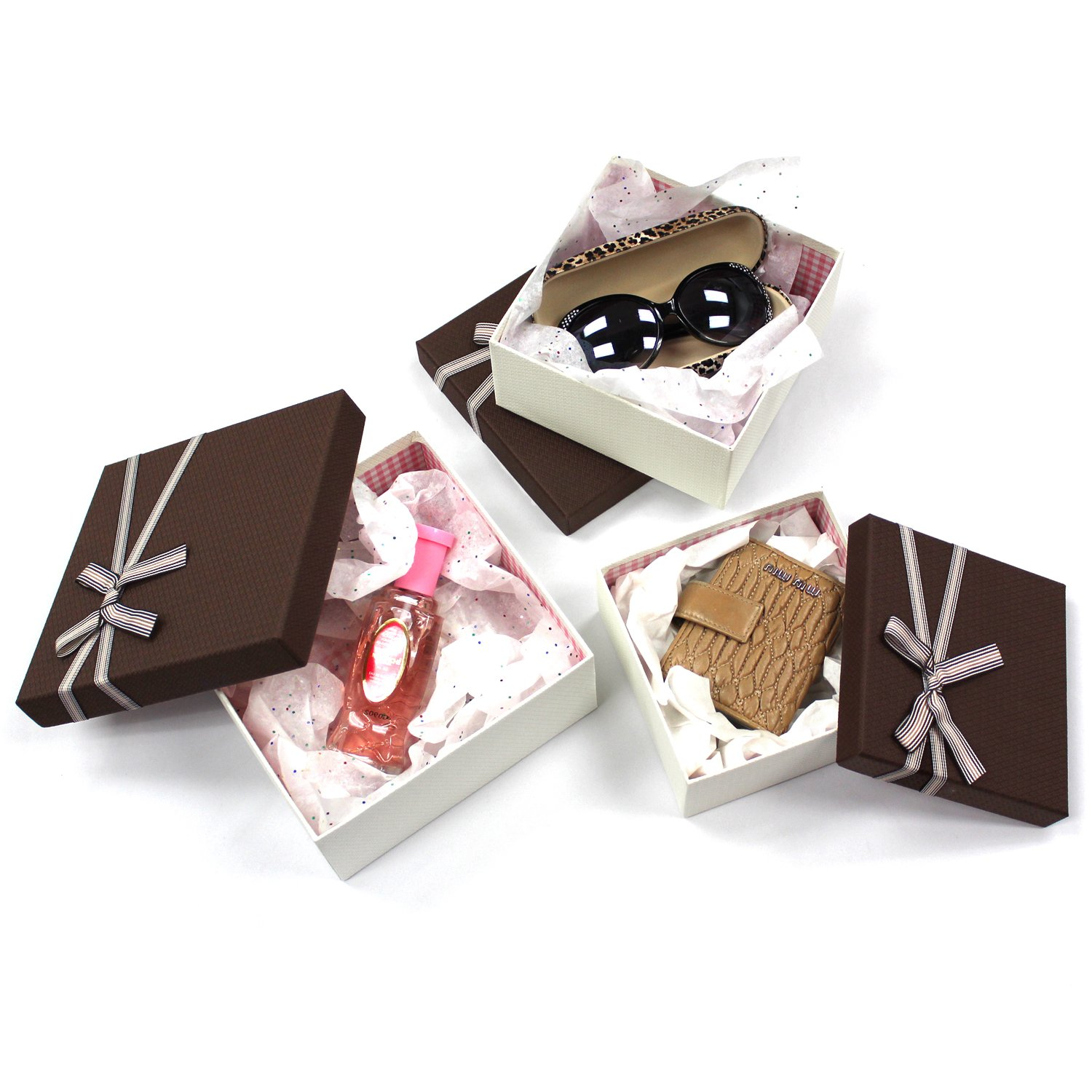 Square Nesting Gift Boxes, A Set of 3,Brown Color with A Bowtie by Ikee Design (Image #5)