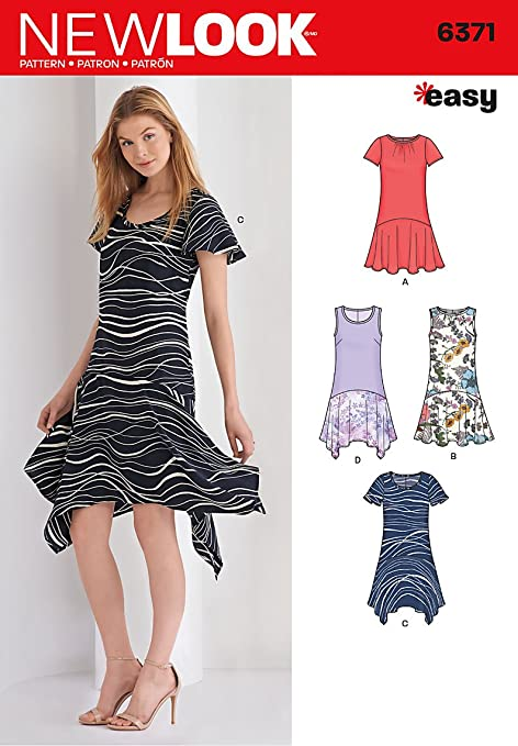 New Look 6371 Size A Misses\' Easy Dresses Sewing Pattern, Multi ...
