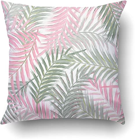 Amazon Com Emvency Pillow Covers Decorative Leaves Of Palm Tree Pattern Leaf In Gray Pink On White Tropical Trees Bulk With Zippered 18x18 Square Pillow Case For Home Bed Couch Sofa Car One
