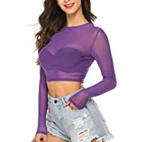 ADOME Dames top transparante blouse mesh shirt lange mouwen party bovendeel sexy crop top