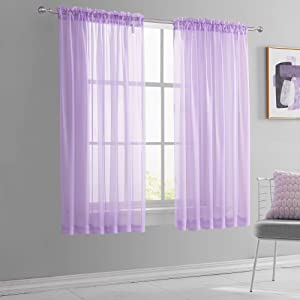 KEQIAOSUOCAI Light Purple Short Sheer Curtains 45 Inch Length for Children Kids Room Sheer Lilac Lavender Voile Drapes for Small Bathroom Basement Kitchen Windows Set of 2 Panels 52 Inch by 45 Inch