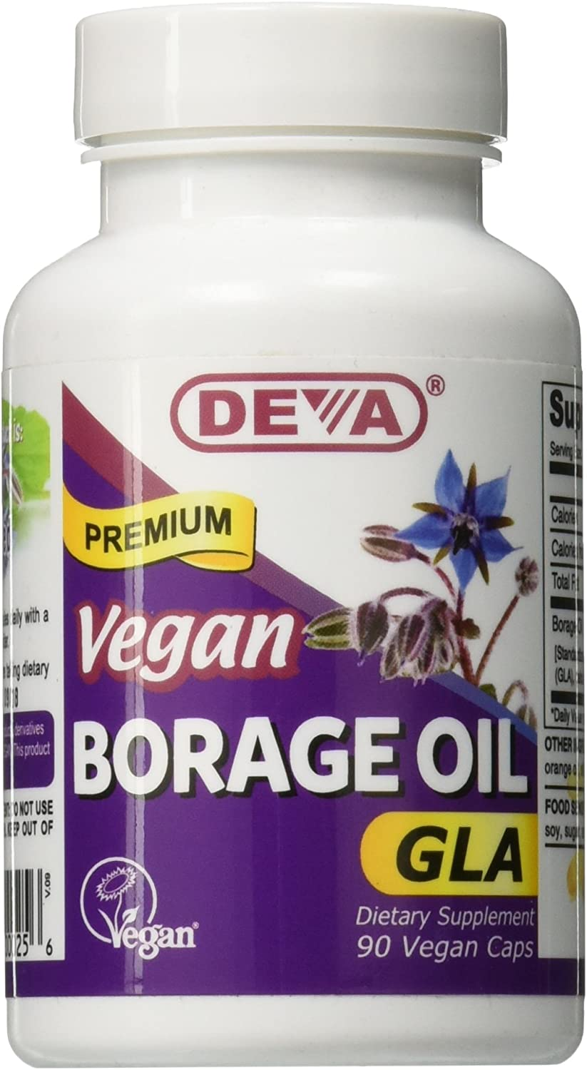 DEVA Vegan Vitamins Vegan Borage Oil 500 mg Vcaps, 90-Count Bottle