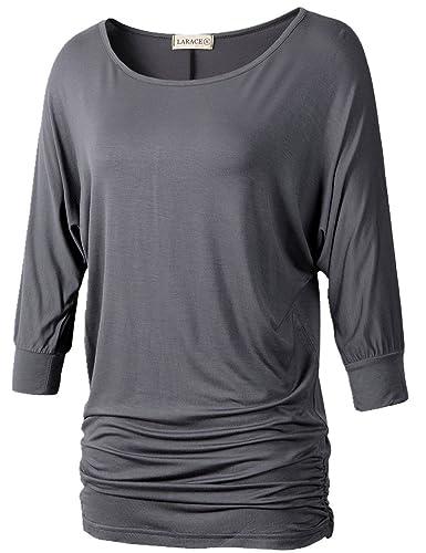 LARACE Womens Dolman Sleeves Drape Tops Solid Side Shirring Jersey Tee